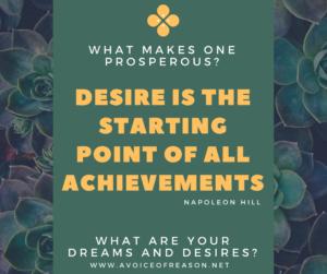 Desire starting point prosperous